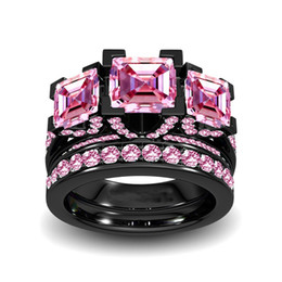 Wholesale choucong Stunning Luxury Jewelry Fashion Three Stone Princess Pink Saspphire Sterling Silver Black Gold Women Wedding Bridal Ring Set