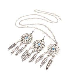 $enCountryForm.capitalKeyWord UK - 1Set Dream Catcher Charm Pendant Necklace Jewelry Set Antique Silver Dreamcatcher Dangle Earrings Jewelry Set For Women Party