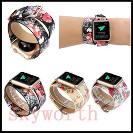 Double banD watch bracelet online shopping - For Apple Watch Strap Bands Double Round Dual Circle Genuine Real Leather Flower Straps Band mm Bracelets With Adapter