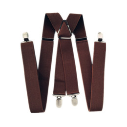 suspenders for women straps UK - BD054-4 Clips Man Suspenders 47 inch Adjustable Elastic Strap Dark Coffee Light Coffee X Back Pants Braces Suspender For Women