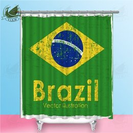 $enCountryForm.capitalKeyWord NZ - Vixm Brazil Flag On Green Background Illustration Shower Curtains Polyester Fabric Curtains For Home Decor