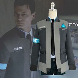 Wholesale carnival games resale online - New Type Game Detroit Become Human Connor RK800 Agent Suit Uniform Tight Unifrom Cosplay Costume for Halloween Carnival On Sale