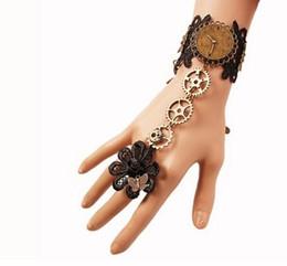 $enCountryForm.capitalKeyWord NZ - Hot style Fashion vintage black lace bracelet women's steam engine gear hand ornaments band ring stylish classic elegant
