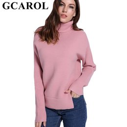 sweater colors turtleneck 2019 - GCAROL 2018 Autumn Winter 20% Wool Turtleneck Sweater Warm Thick High Street Women Knit Pullover Oversize Jumper In 3 Co