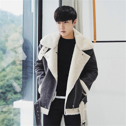 $enCountryForm.capitalKeyWord Australia - High quality suede leather 2017 warm winter coat male oblique zipper motorcycle jacket casual jacket cotton padded wool lamb