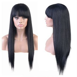 straight bangs wig Australia - Silky Straight Lace Front Wig with Full Bangs Ponytail Brazilian Virgin Human Hair Full Lace Wigs for Women Natural Color