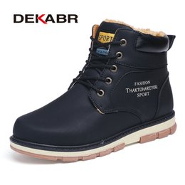 Warm Waterproof Winter Sneakers NZ - 2019 DEKABR Brand Hot Sale Winter Snow Boots High Quality Pu Leather Warm Boots Waterproof Casual Working Shoes Fashion Men Boots Sneakers