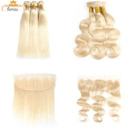 Wholesale Items Sold Australia - 613 Straight Body Wave Human Hair Weaves Unprocessed Brazilian Human Hair 613 Blonde 3 Bundles with Frontal Closure DHgate Best Selling Item