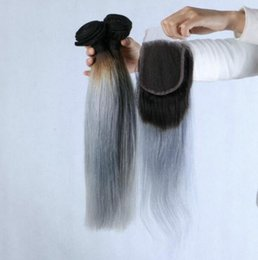 1b Straight Hair Australia - Peruvian Silver Grey Ombre Hair With Closure 4Pcs Lot 9A Grade 1B Grey Ombre Human Hair 3Bundles With 1Pc Straight 4x4 Lace Closure