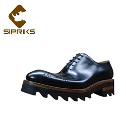 Sipriks Mens Carved Leather Oxfords Thick Rubber Sole Brogues Shoes Italian  Custom Goodyear Welted Dress Shoes Medallion Formal b4b55d178c4d