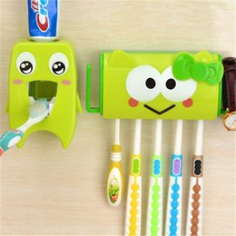 Wholesale Liyimeng Multifunctional Cartoon Toothbrush Holder Storage Orgainzer Box Bathroom Accessories Suction Hooks Toothpaste Dispenser New Hot