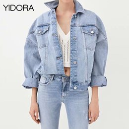 86f3215381b Fall Winter 2018 New Women Female Blue Punk Style Washed Denim Jean Jacket  With Shirt Collar   Long Sleeves   Button-up Front