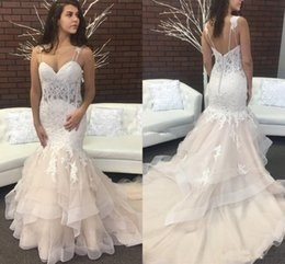 Discount trendy dresses pleats 2018 Trendy Mermaid Wedding Dresses Spaghetti Backless Sweep Train Appliques Garden Country Chapel Bridal Gowns Vestido De Novia