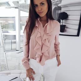 38166169f elegant office shirts 2019 - 2018 Ruffles Blouse Ladies Office Shirts  Blouse Elegant Tops Work Wear