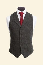 $enCountryForm.capitalKeyWord Australia - Cheap And Fine Notch Lapel tweed Vests Wool Herringbone British style custom made Mens suit tailor slim fit Blazer wedding suits for men