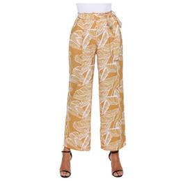fdde7284c14c 2018 Summer Boho Long Pantalones Women Clothes Vacation White Leaf Vein  Print Mustard Wide Leg Pants High Waist Loose Trousers