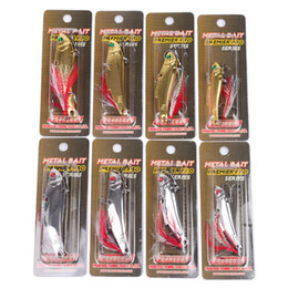 Brand Fishing Lures Australia - Brand Metal Jigs VIB Crankbaits BKB Hooks with Feather 14g 21g 28g 35g Silver Gold Iron Minnow Spinnerbaits Fishing Lure