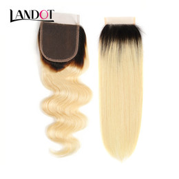 Chinese  Ombre 1b 613# Bleach Blonde Human Hair Lace Closure Virgin Brazilian Peruvian Malaysian Indian Cambodian Russian Body Wave Straight Closures manufacturers
