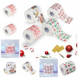 Paper Table Roll Australia - Christmas Household Wood Pulp Toilet Paper Christmas Santa Claus Printed Toilet Napkins Roll Paper Tissue Cartoon Table Decoration GGA1353