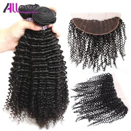 Best kinky curly hair Bundles online shopping - Allove Best A Brazilian Hair Bundles With Closure Kinky Curly Bundles with Lace Frontal Closure Peruvian human hair Extensions
