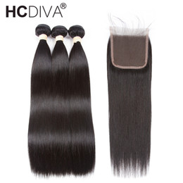 China Pre-Colored Peruvian Straight Hair With Closure Remy Human Hair Weaves 3 Bundles With Closure Natural Black Color HCDIVA Hair cheap natural colored hair weave suppliers
