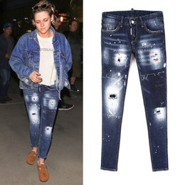 Girl low jeans online shopping - Cool Girl Distressed Skinny Fit Jeans Stitching Detail Painted Effect Bleach Wash Ripped Denim Trousers Female