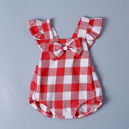 488bce042 Baby Girls Plaid Romper 2018 New Check Bow Fly Sleeve Toddler Jumpsuit Cute  Ruffle Infant Onesie Summer Cotton Kids Bodysuit C3483