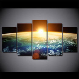 Sun Picture Australia - Wall Art Pictures Home Decor Living Room HD Prints 5 Piece Sun Rising Over Earth Poster Universe Space Canvas Painting Framework