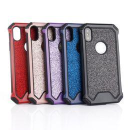 Case Iphone Black Glitter NZ - 2in1 Hybrid Glitter Bling Armor Case For iPhone X 8 8 Plus 7 7Plus 6 6S 6 Plus 5 5S SE