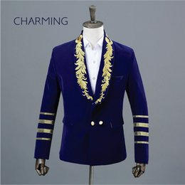 Discount top classic suits for men - Dress suits for men Shawl collar embroidery suit jacket Performance Singer Stage Double Breasted Top Gents suit