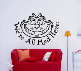 Wallpapers Walls Cartoons Australia - Cartoon Wall Decal Removable Wallpapers for kids room decor Cheshire Cat Smile Quote Wall Vinyl Sticker