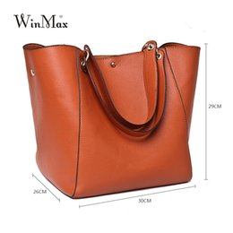 Large Mom Bags Canada - Luxury Brand Women Split Leather Handbag High Quality PU Leather Shoulder Bag Large Capacity Totes Cattle Split Hand Bag For Mom