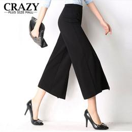 5ae94b1d4d9ec New 2017 Hot Sale Plus Size 6XL 5XL 4XL Women Wide Leg Ankle Pants High  Waist Elastic Pants Black White Open panties Trousers