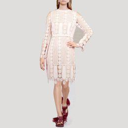 d6f09e6d848 Off Shoulder Lace Dress For Women High Waist Hollow Out Knee Length Dresses  Female Elegant Fashion 2019 Autumn New