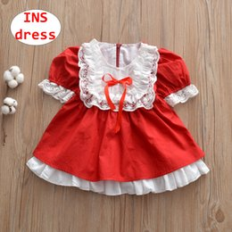 $enCountryForm.capitalKeyWord NZ - INS Girl Sweet dress Baby Christmas doll red white lace Dress Kids short sleeve autumn Ball Gown