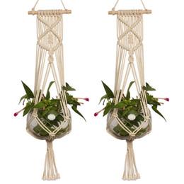 1pc Macrame Plant Hanger Corda Vaso da giardino Holder Cesto appeso intrecciato Fioriera Corda Decorazione del giardino forniture