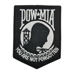 "China Hot Leathers Pow Mia Embroidered Patch Heat sealed backing For Motorcycle Biker Jacket Iron On Sew On Patch 3.5"" G0176 Free Shipping cheap iron seal suppliers"