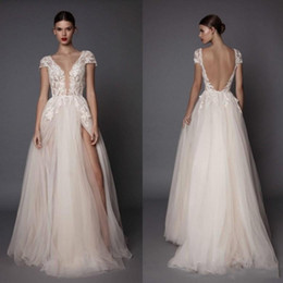 $enCountryForm.capitalKeyWord Canada - 2019 Plunging V Neck Berta Wedding Dresses With Short Sleeves A-Line Backless Lace Appliqued Floor Length Split Side Plus Size Bridal Gowns