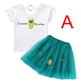 "3d flower tee Australia - INS SUMMER GIRLS COTTON Pineapple WHITE TOP ""SummerRainbow"" LETTER PRINT FLY SLEEVED TSHIRT TEES & GIRLS GREEN PINK 3D FLOWER TUTU SKIRTS"