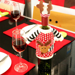 $enCountryForm.capitalKeyWord Australia - Creative Wine Bottle Hats High Quality Knitted Cloth Christmas Wine Bottle Cover Table Decoration Xmas Ornament Clothes