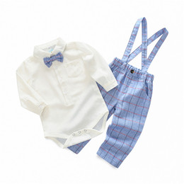 Discount baby tie romper - spring and autumn new styles Baby kids cute gentleman bow tie boy romper +plaid pants 2 sets free shipping B11