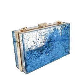 $enCountryForm.capitalKeyWord Canada - Blue Liquid Quicksand Clear Transparent Acrylic Women Evening Box Clutch Bag Ladies Hard Metal Clutches Messenger Crossbody Bag