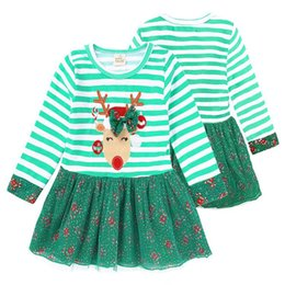 reindeer color Australia - Baby Girls Christmas Dresses 9 months~6 years old Baby Girls Stripe Xmas Reindeer Princess Dresses Kids Christmas Clothing