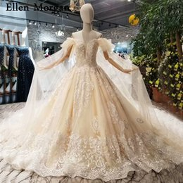 $enCountryForm.capitalKeyWord NZ - Champagne Elegant Lace Ball Gowns Wedding Dresses 2018 Off Shoulder Sweetheart Custom Made Real Photos Bridal Gowns for Women