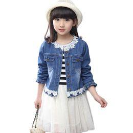 7fdfbdeb6 Encaje chaqueta de mezclilla + tutú a rayas 2 unids   set para niñas  conjunto de ropa de primavera fiesta infantil Coatumes Kids Coat + vestido