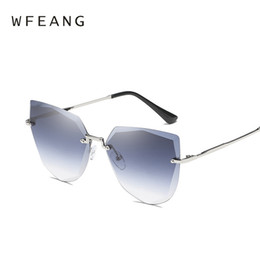female fashion eye shades 2019 - WFEANG 2018 brand sunglasses woman designer fashion retro rimless mirror sun glasses female black driving shades oculos