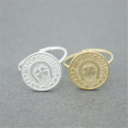 """Discount luck coins Fashion lucky coin ring """"keep me for good luck,"""" clovers copper ring Gold-color rings for women"""