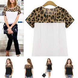 Leopard saLe online shopping - Hot sale colors Leopard grain design lady Short sleeve Chiffon shirt Fashion stitching Comfortable T shirt T3I0333
