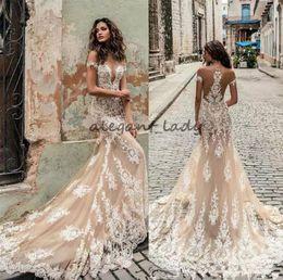 Plunge neckline dresses online shopping - Champagne Julie Vino mermaid Wedding Dresses Off Shoulder Deep Plunging Neckline Bridal Gowns Sweep Train Lace Wedding Dress