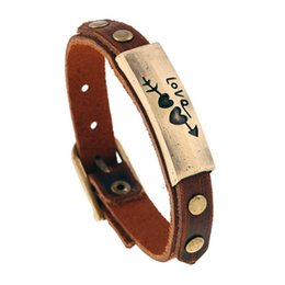Wholesale Fashion Love Sweet Heart ID Rivet Brown Leather Bracelet Retro Punk Concise Mens Bangle Cuff Wristband Adjustable Jewelry Gifts for Boys
